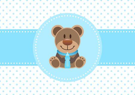 Baby Boy Card Teddy und Flasche Punkte Hintergrund blau