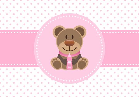 Baby Card Girl Teddy And Bottle Dots Background Pink