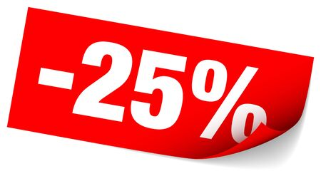 Red Sticky Note Sale Minus Twenty-Five Percent