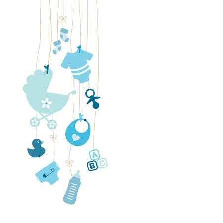 Set Van Negen Links Hangende Baby Pictogrammen Jongen Blauw Vector Illustratie