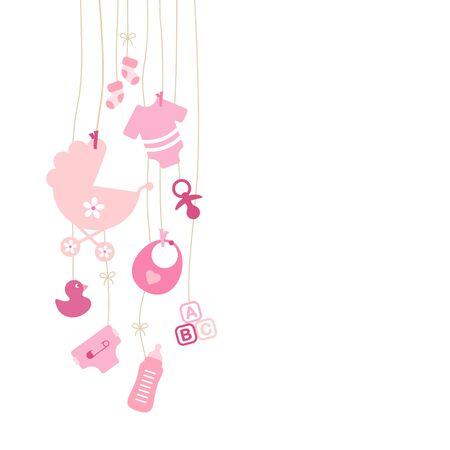 Set Of Nine Left Hanging Baby Icons Pink Girl