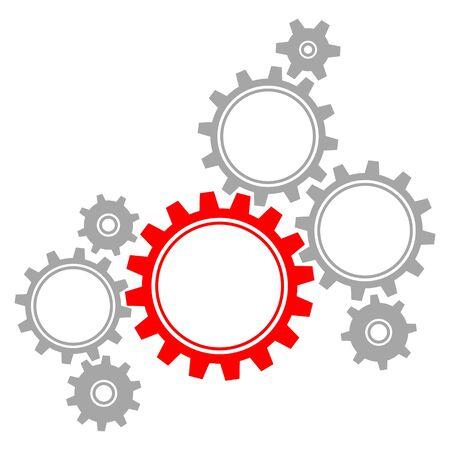 Gruppe von Acht Grafikzahnrädern Rot und Grau Vektorgrafik