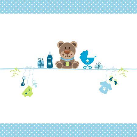 Bruin teddy en jongen baby pictogrammen stippen grens blauw