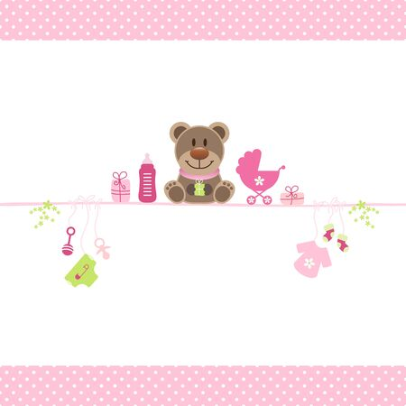 Brown Teddy And Girl Baby Icons Dots Border Pink 일러스트