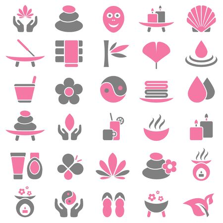 Set Of Thirty Wellness Icons Pink And Gray