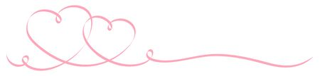 Horizontal Two Connected Pink Hearts Calligraphy Ribbon Illustration