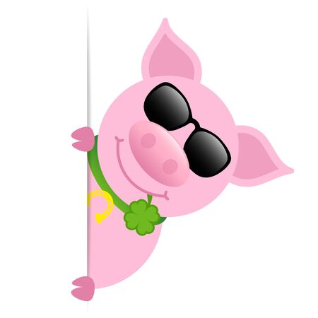 Pig Sunglasses With Clover Leaf Vertical Banner Right 矢量图像