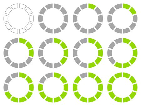 Set Of Round Graphic Pie Charts Green And Gray