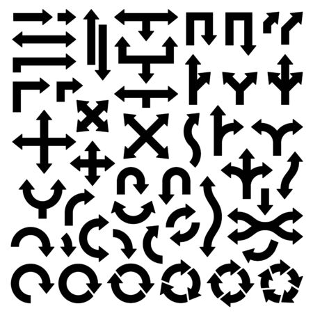 Set Of Different Wide Black Arrows Many Directions Ilustración de vector