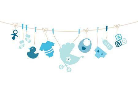 Hängende Baby Icons Boy Bow Blau Und Beige