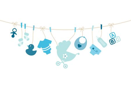 Hanging Baby Icons Boy Bow Blue And Beige Illusztráció