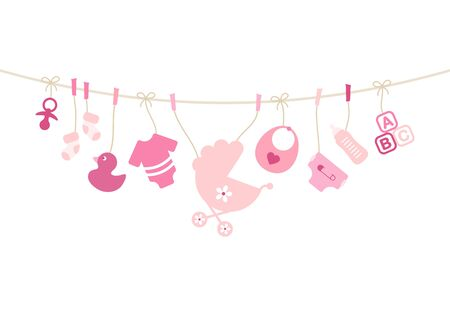 Hanging Baby Icons Girl Bow Pink And Beige
