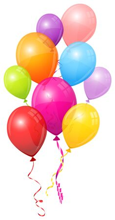 Group Of Nine Colorful Balloons Matching Strings Flying Vettoriali