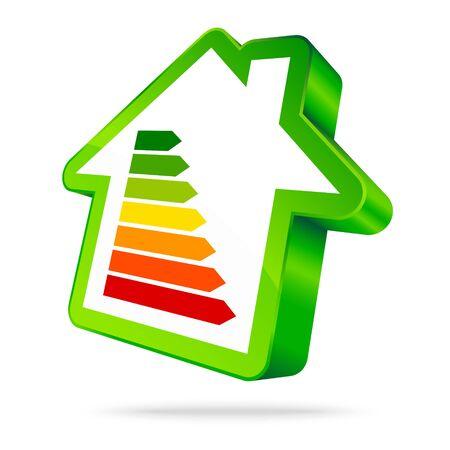 Einzelnes grünes Haussymbol Energie sieben Balken grün