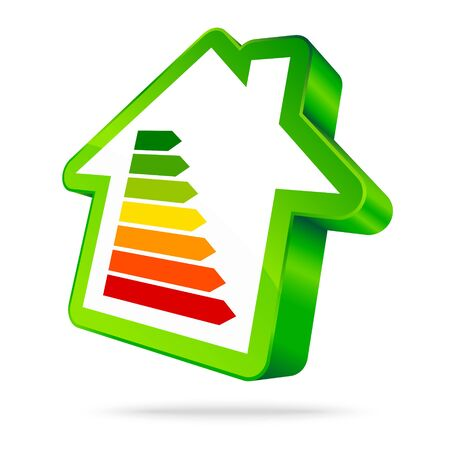 Single Green House Icon Energy Seven Bars Green Vectores
