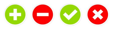 Set Of Four Buttons Plus Minus And Checkmarks Red And Green Illustration