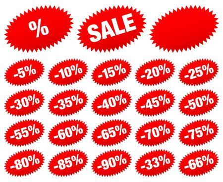 Set di adesivi di vendita rossi meno stelle ovali Vettoriali