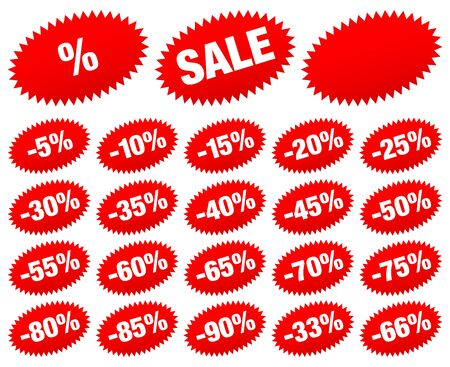 Set Of Red Sale Stickers Minus Oval Stars Stock Illustratie