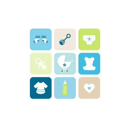 Baby Boy Nine Icons Blue Green Beige Illustration