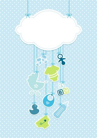 Vertical Card Baby Icons Boy And Cloud Background Dots Blue