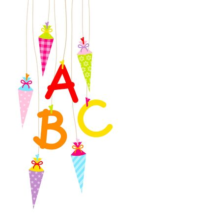 Left Hanging Colorful School Cornets And ABC Letters