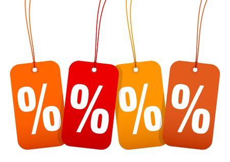 Set Four Hangtags Sale Percent Autumn Brown And Orange