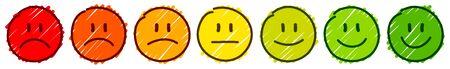 Satz von sieben handgezeichneten Gesichtern Rahmen Feedback Stimmungsfarbe