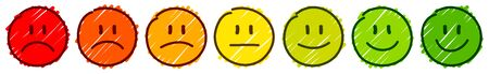 Set Of Seven Handdrawn Faces Frame Feedback Mood Color