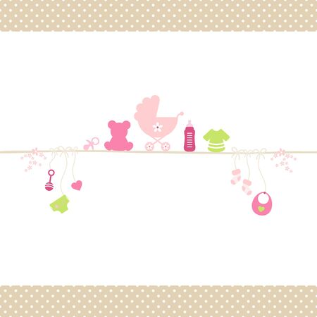 Baby Girl Icons On Straight String Dots Border Beige
