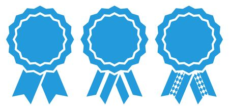 Set Of Three Graphic Oktoberfest Award Badges Blue