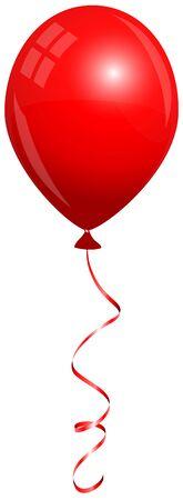 Vol de ballon rouge isolé unique avec chaîne assortie