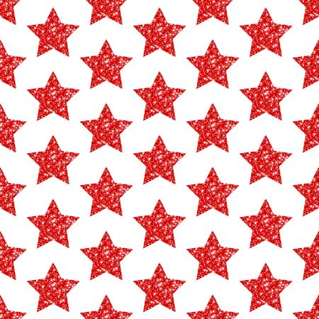 Seamless Geometric Pattern Red Stars Glitter Sparkling