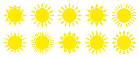 Set Of Ten Simple Yellow Graphic Sun Icons
