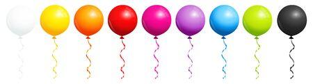 Set aus neun runden Regenbogenballons mit Schwarzweiß