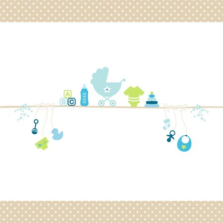Baby Boy On Straight String Blue And Green Dots Border Beige Icons