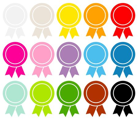 Set Of Fifteen Round Award Badges Filled Graphic Color