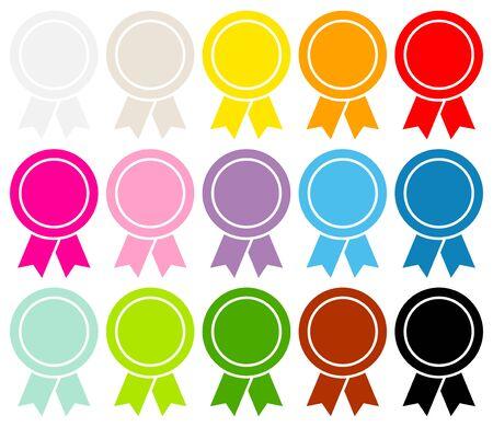 Set Of Fifteen Round Award Badges Filled Graphic Color 版權商用圖片 - 126432037