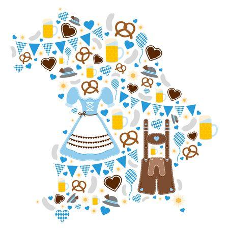 Oktoberfest Icons Forming Silhouette Of Bavaria Blue Ilustración de vector
