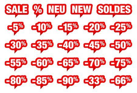 Conjunto de venta de burbujas de discurso rojo menos y diferentes palabras Ilustración de vector