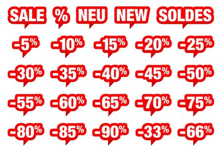 Set Of Red Speech Bubbles Sale Minus And Different Words Vektorové ilustrace