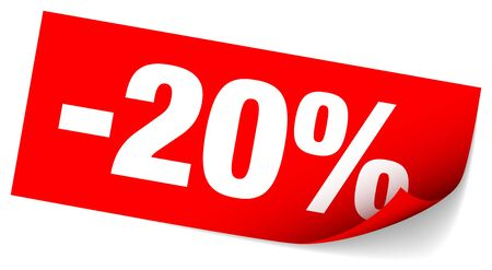 Red Sticky Note Sale Minus Twenty Percent