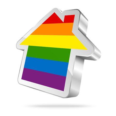 Silver House Icon Rainbow Flag Gay With Shadow Illustration