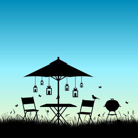 Silhouette Summer Garden Sunrise Or Sundown Blue