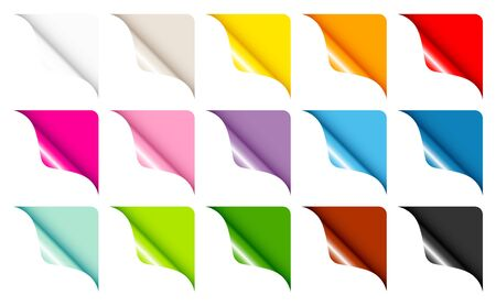 Set Of Fifteen Web Corners Full Color Rounded Right Up Illustration