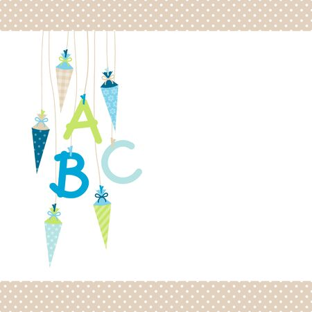 Left Hanging School Cornets And ABC Blue And Green Dots Border Beige Banque d'images - 126432173