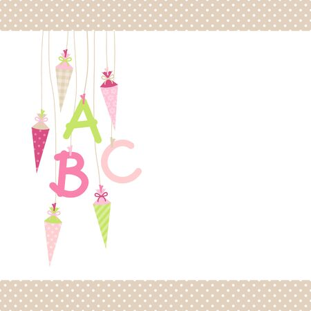 Left Hanging School Cornets And ABC Pink And Green Dots Border Beige