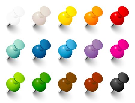 Set of Pins With Shadow In Fifteen Colors