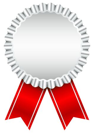 Single Silver Award Badge With Red Ribbon