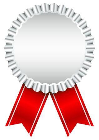 Single Silver Award Badge With Red Ribbon
