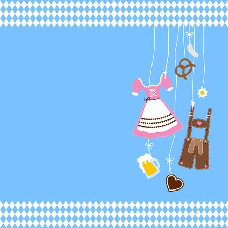 Right Hanging Oktoberfest Icons And Diamond Pattern Borders Blue Background
